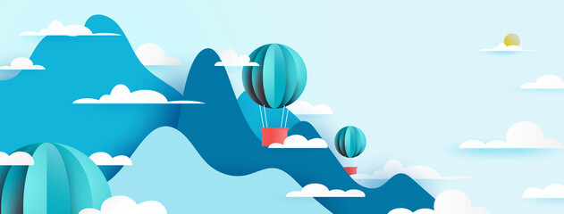 Hot air balloon floating on Mountains view nature landscape scenery banner background paper art style.Vector illustration.