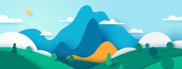 Green nature landscape scenery banner background paper art style.Vector illustration.