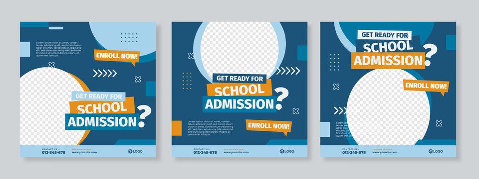 Set of three blue orange school admission or education social media pack template premium vector