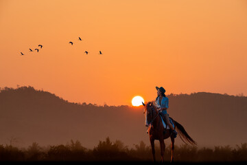 Fototapeta Cowgirl rider on horse back with silhouette mountain with flock of birds flying with sun sky background.