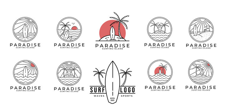 set / bundle paradise surf logo line art vector illustration design, paradise beach logo design.
