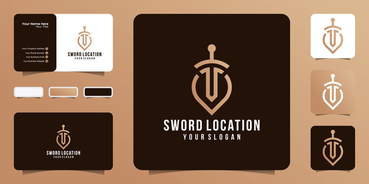 Sword and pin location logo combinations for law and justice firms