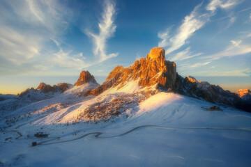 Fototapeta View of the Passo Giau mountains at sunset, Dolomites, Italy