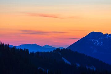 Fototapeta Mountains on sunset
