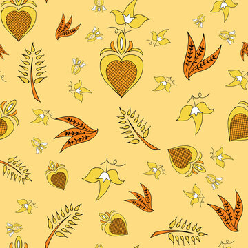 Vector beige background Brittany celtic, Breton trational folklore symbols seamless pattern. Seamless pattern background