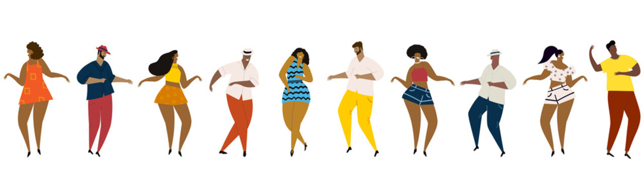 Hand drawn vector illustration of various people - men and women of diverse multi-racial background dancing happy fun mambo dance. Seamless banner.