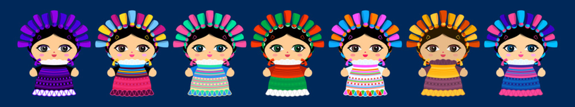 Traditional Doll Mexican master collection vector illustration.