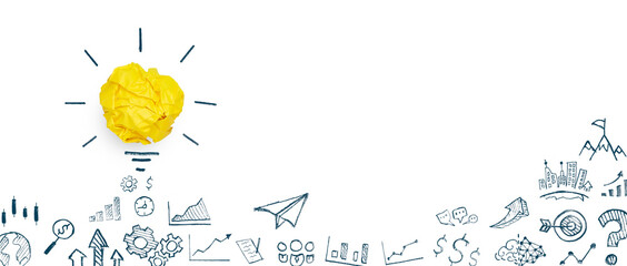 Yellow paper light bulb and business strategy on white background, Concept of new ideas creativity,...