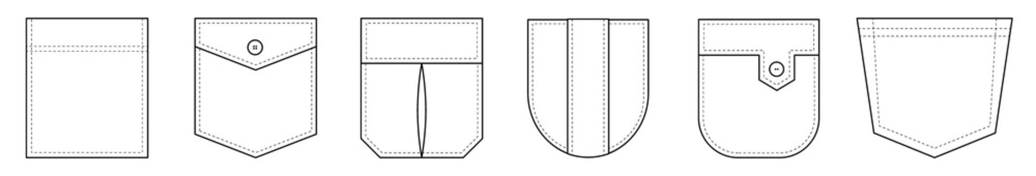 Patch pocket. Set of uniform patch pockets shapes for clothes, dress, shirt, casual denim style. Isolated icons.