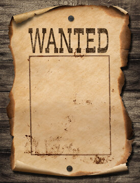 Wild west wanted poster on wood wall