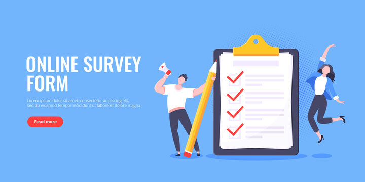 Checklist complete business concept tiny people with megaphone and pencil nearby giant clipboard, task done and check mark ticks flat style design vector illustration isolated white background.