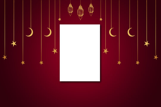 blank a4 size paper with islamic festival edi theme background of hanging lanterns and stars