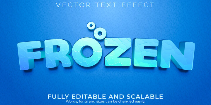 Editable text effect, frozen ice text style