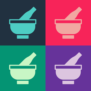 Pop art Mortar and pestle icon isolated on color background. Vector