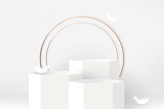 3 step podium mockup on white gray color background with golden circles and feathers for cosmetic and product display, vector illustration