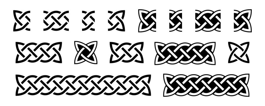 Celtic borders and knots. Traditional celtic ornament element, repear seamless pattern blocks. Braided black and white design for frame decoration. Vector illustration