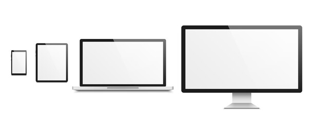 Obraz Computer realistic mockup. Smartphone and tablet, laptop and tv, devices with blank white empty screen, advertising on monitor display template. Electronic gadget vector isolated set - fototapety do salonu