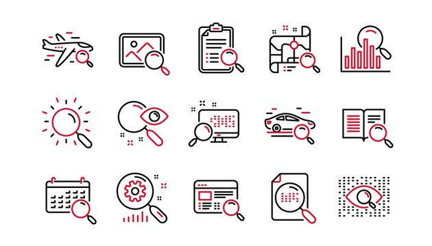 Search line icons. Indexation, Artificial intelligence and Car rental. Search images linear icon set. Linear set. Quality line set. Vector