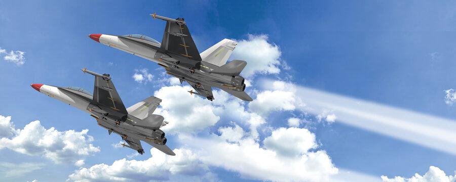 3d zwei Militärjet, Kampfflugzeuge in Formation am Himmel
