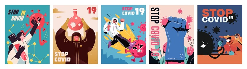 Fight with Coronavirus concept. Set of posters with illustrations of fighting with covid, corona virus. Disease campaign poster. Vector