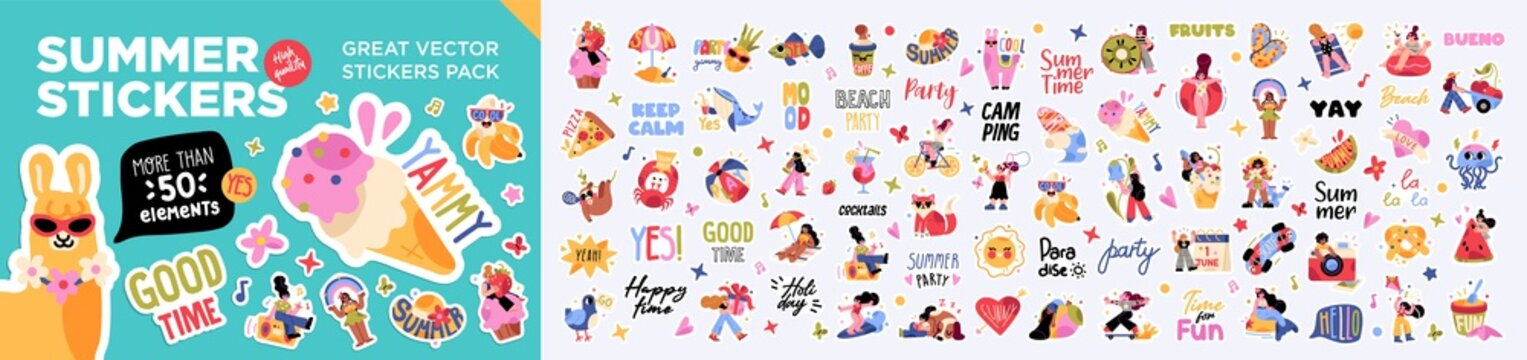 Big set of summer holiday, travel, beach vacation, tropical party labels, stickers, elements. Flat cartoon colorful vector illustration