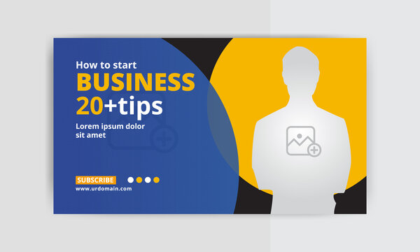 Business Thumbnail design for any video. Video thumbnail or web banner template. social media Video cover photo
