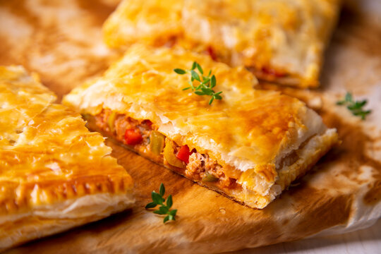 Traditional empanada with tuna and vegetables.