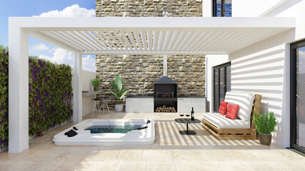 3D render of modern urban patio with white pergola and jacuzzi.