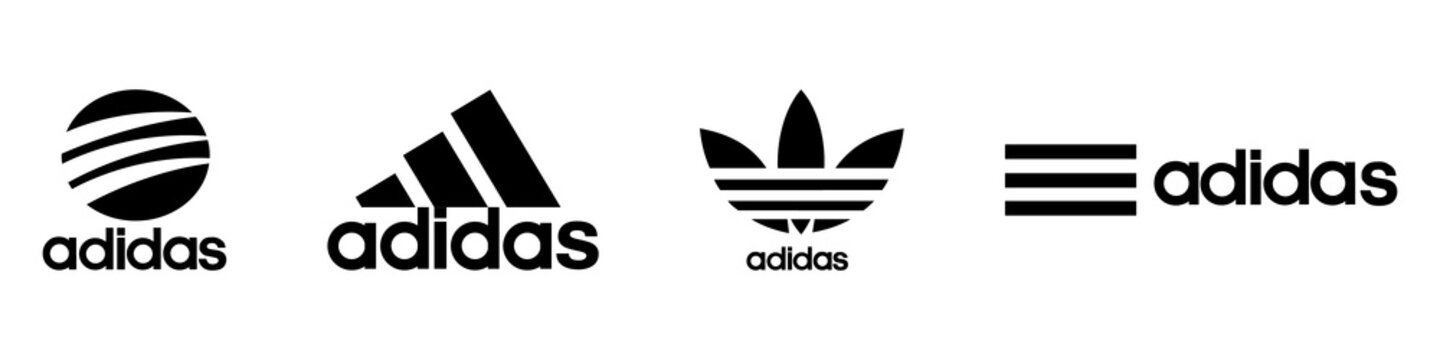 Adidas logo set. Editorial image. VINNITSIA, UKRAINE. APRIL 19, 2021.