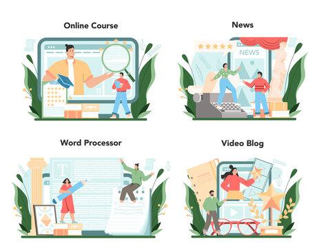 Critic online service or platform set. Journalist making review
