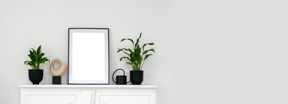 Houseplants and home decor on shelf above fireplace