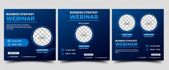 Fototapeta Webinar Social Media post template. Modern banner with abstract gradient blue background. Vector design with place for the photo. Suitable for social media post, banners, flyers, and website.