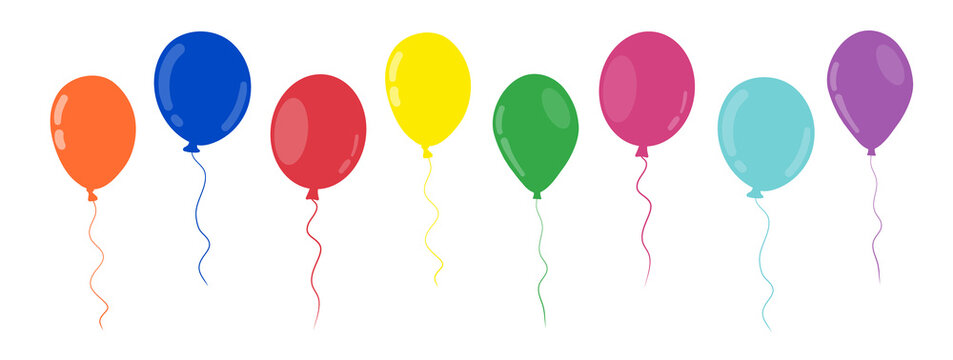 Colored balloons in flat style set vector illustration. Happy birthday banner. Cartoon isolated collection