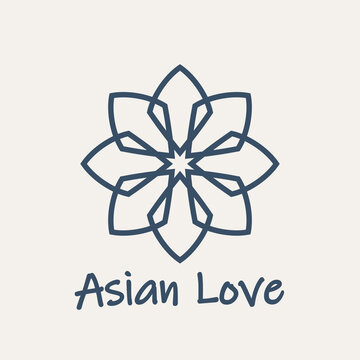 Mosaic arabic linear ornament. Vector geometric lotus emblem for ornamental design or logos. Asian love flower
