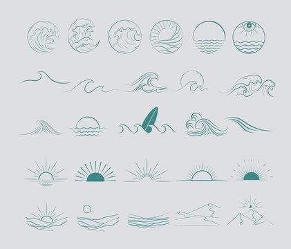 Collection of Summer Boho linear symbols, icons design. Sun, sea waves, landscape. Editable Vector Illustration.