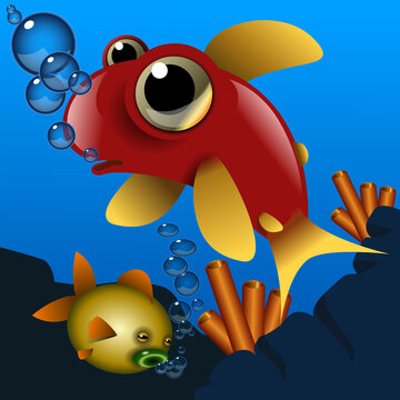 Two cute cartoon style fish swimming in he sea with bubbles. Vector Illustration