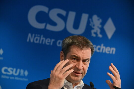 Bavarian State Premier and Christian Social Union (CSU) leader Markus Soeder speaks after a CSU leadership meeting in Munich