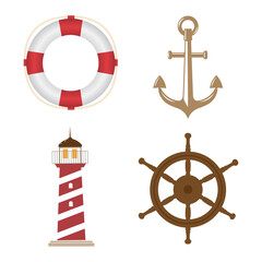 Vector marine set isolated on white. Lifebuoy, anchor, lighthouse, steering wheel. For a wide range of applications in design.