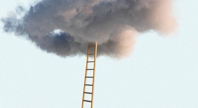 Karriereleiter - Leiter führt in Wolken