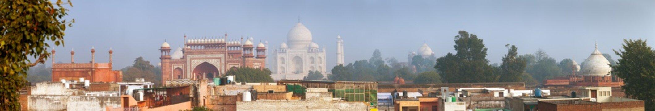 Taj Mahal over the city, panoramic view, Agra India
