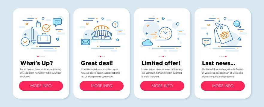 Set of Business icons, such as Sports stadium, Fast delivery, Baggage reclaim symbols. Mobile screen app banners. Sale tag line icons. Championship arena, Stopwatch, Check in bag. Vector