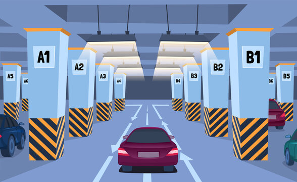 Cartoon Color Underground Car Parking Inside Concept. Vector