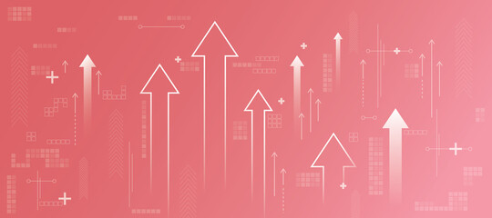 Fototapeta Business increase concept with white growing arrows, plus signs, pixel symbols and lines on abstract light pink background