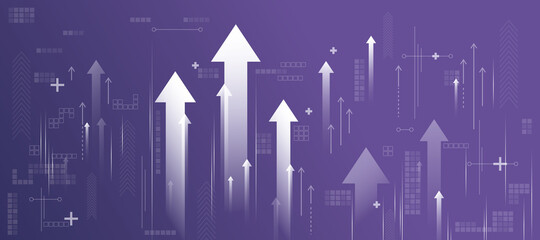 Fototapeta Business success concept with white growing arrows, plus signs, pixel symbols and lines on abstract purple background