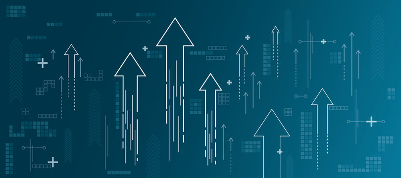 Growth concept with growing arrows, plus signs, pixel symbols and lines on abstract blue shadow background
