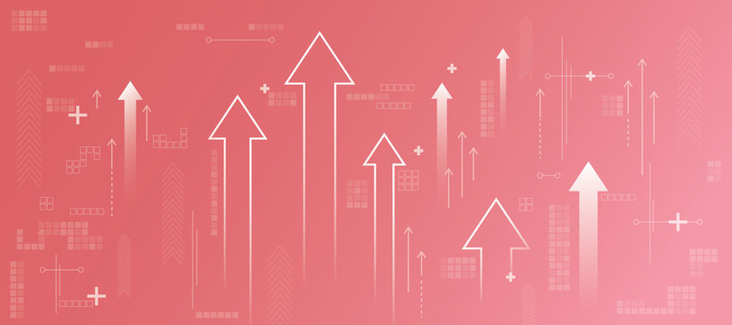 Business increase concept with white growing arrows, plus signs, pixel symbols and lines on abstract light pink background