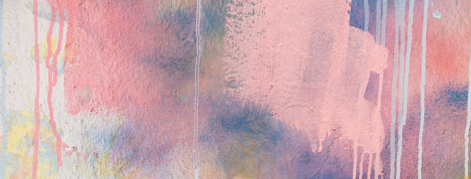 Pink, blue, white painter plastered wall background with colorful drips, flows, streaks of paint and paint sprays