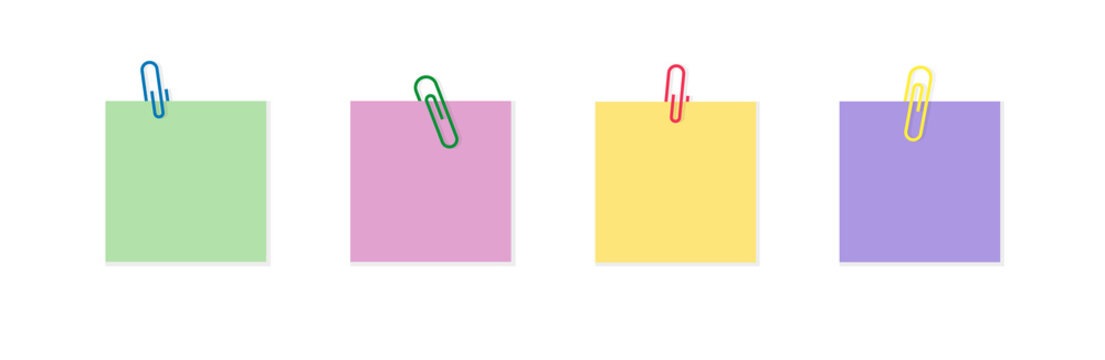 Paper clip with memo. Paperclip with note. Color notepaper with paperclip for reminder in school, office and home. Metal pin on paper sticker with shadow. Blank label for announcement. Vector