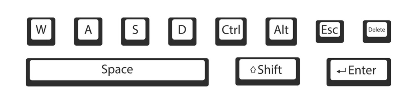 Computer action key symbol vector set, keys from pc keyboard flat icon button collection.