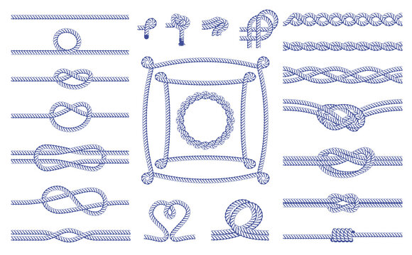A set of various knots, frames, bindings of ropes. Seamless decorative elements.